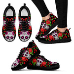 Red Roses Skull Women's Sneakers