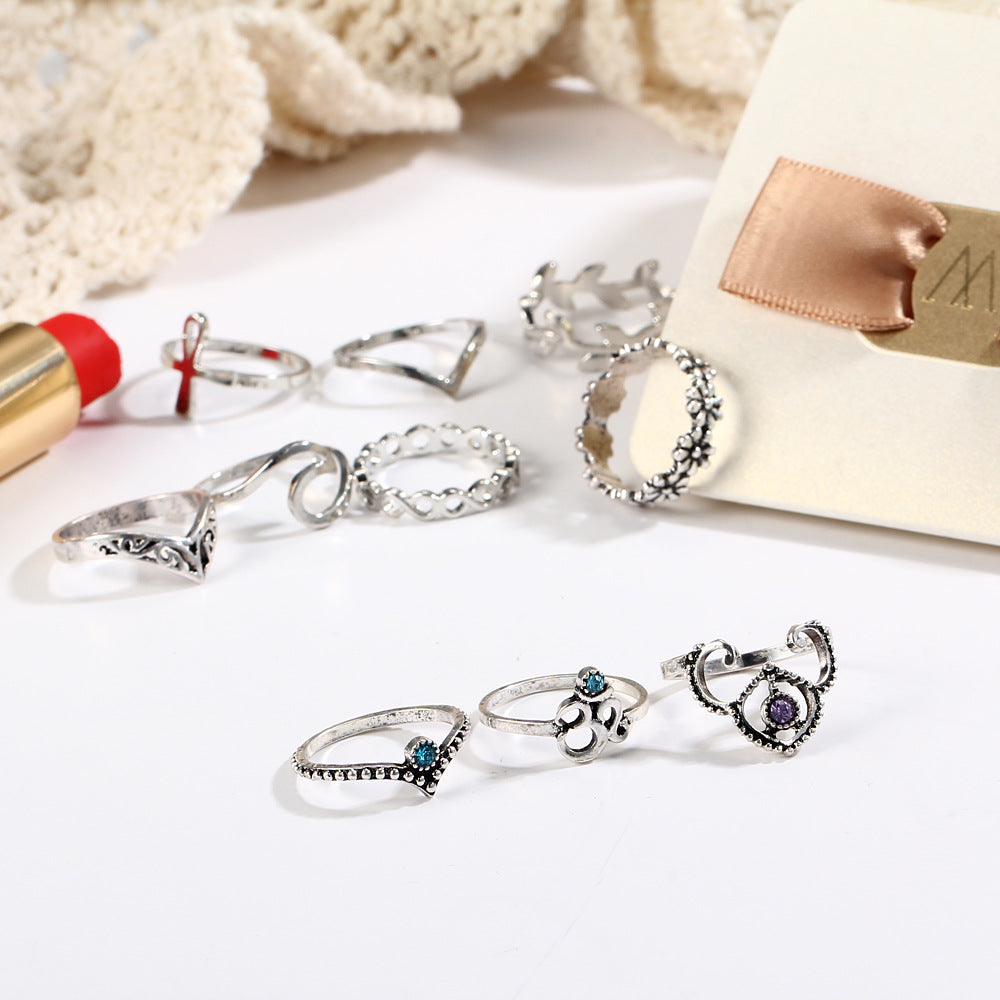 10pcs/Set Antique Silver Color Cross Crown Crystal Rhinestone Finger Rings For Women Hollow Flower Midi Knuckle Ring Set Jewelry