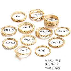 12 PCS/Set New  Fashion women Jewelry Brand Designer Elegant New Imitation ring for women punk Ring Accessories Wholesale