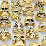 12 Pieces/lot Mix Big  Skull Ring in Jewelry Gold Plate Top Quality Bohemian Statement Punk Ring for Men