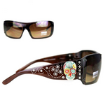 Montana West Sugar Skull Collection Sunglasses Coffee/Multico