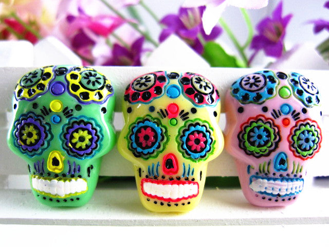 15pcs/lot  flat back resin sugar skull DIY resin cabochons accessories about 18*25mm