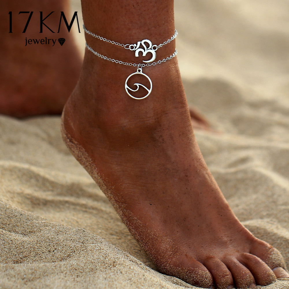 Vintage Sliver Color Yoga OM Multi Layer Anklets For Women Bohemian Wave Anklet Leg Bracelet Handmade Jewelry Sandals Gift