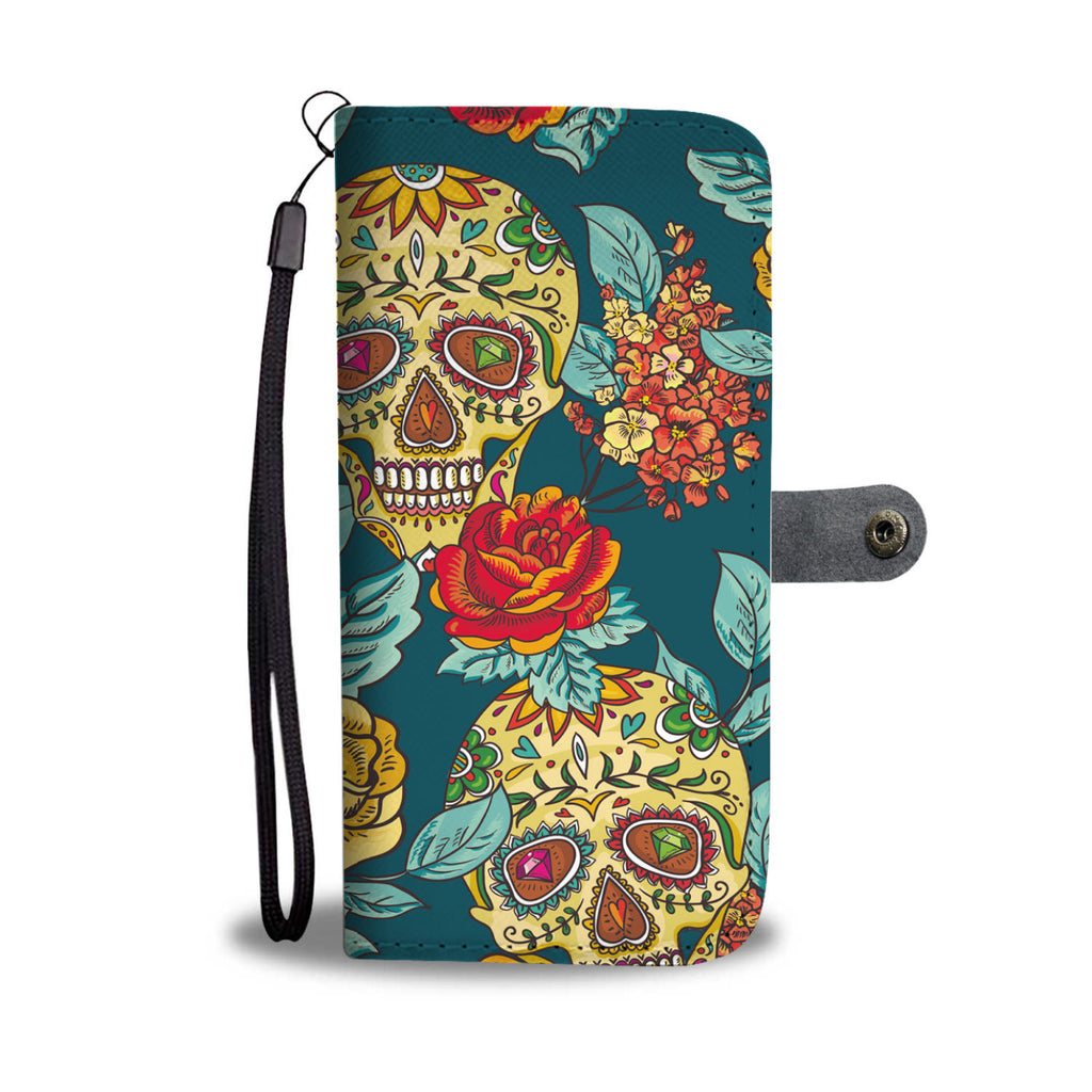 Sugar skull wallet phone case
