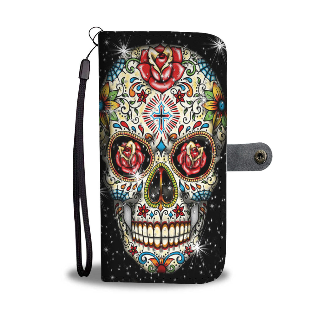 Sugar skulls - wallet phone case