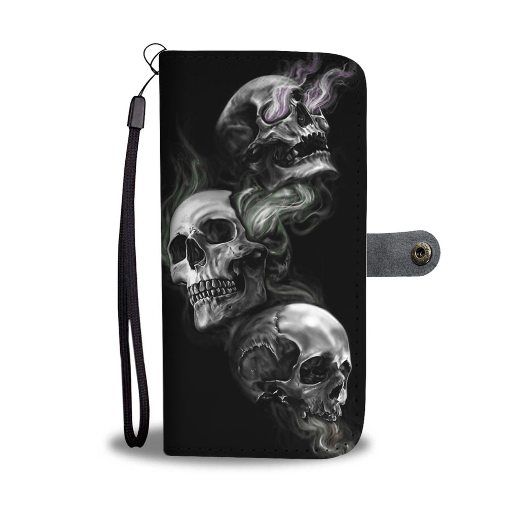 3 skulls - phone case wallet