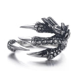 1PC Sale Punk Silver Men Women Ring Mental Dragon Claws Size 8  9  10 Personality iker Rings Vintage Gothic Jewelry