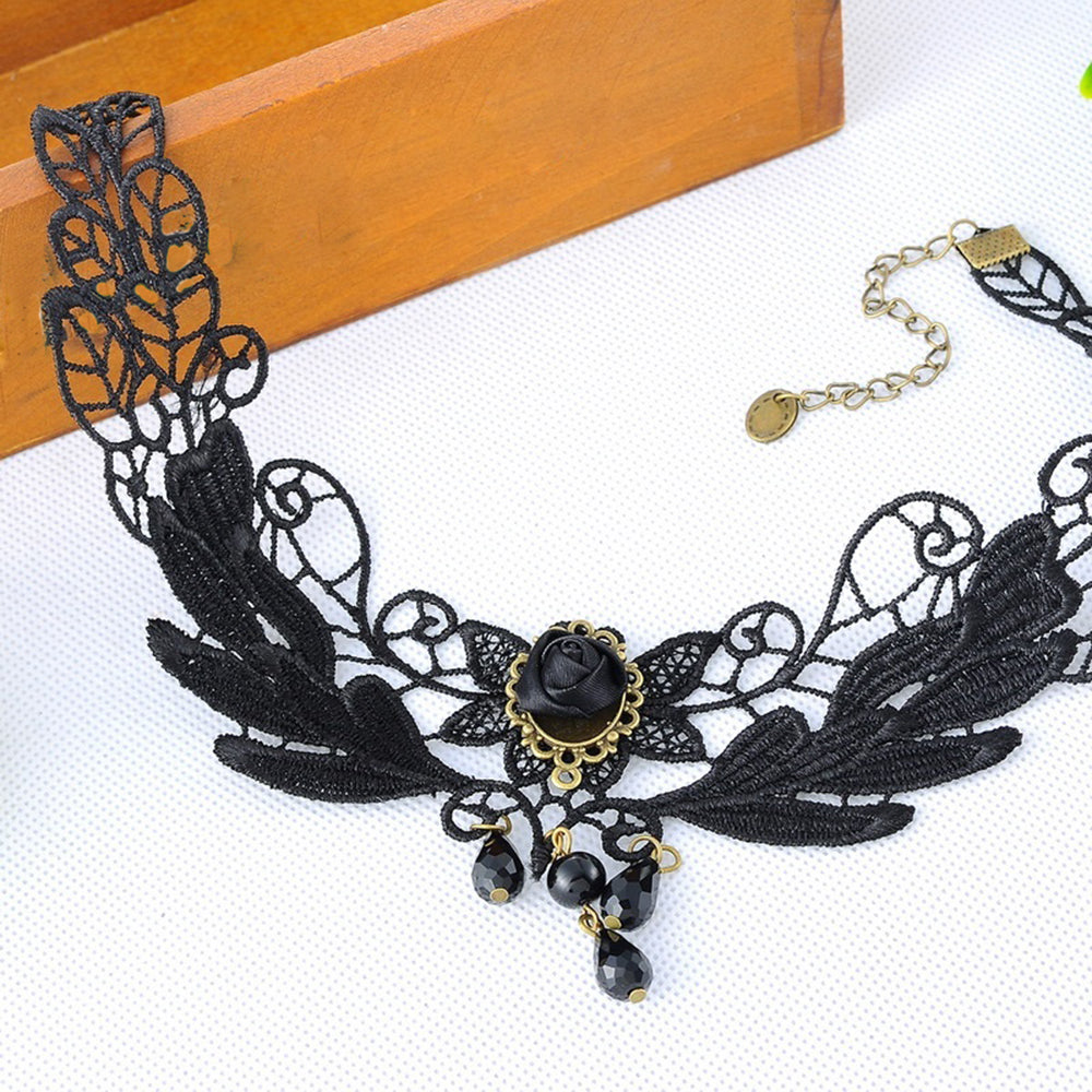 1PCNice Women's Style Black Fabric Rose Flower Beads Pendant Choker Lace Necklace Gothic Jewelry False Collar Statement Necklace
