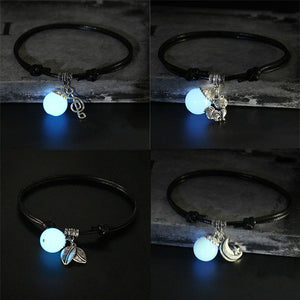 1PCS Retro Creative Glow In Dark Pendant Anklet Female Jewelry Gift Handmade Black Rope Leaves Chain Barefoot Anklet