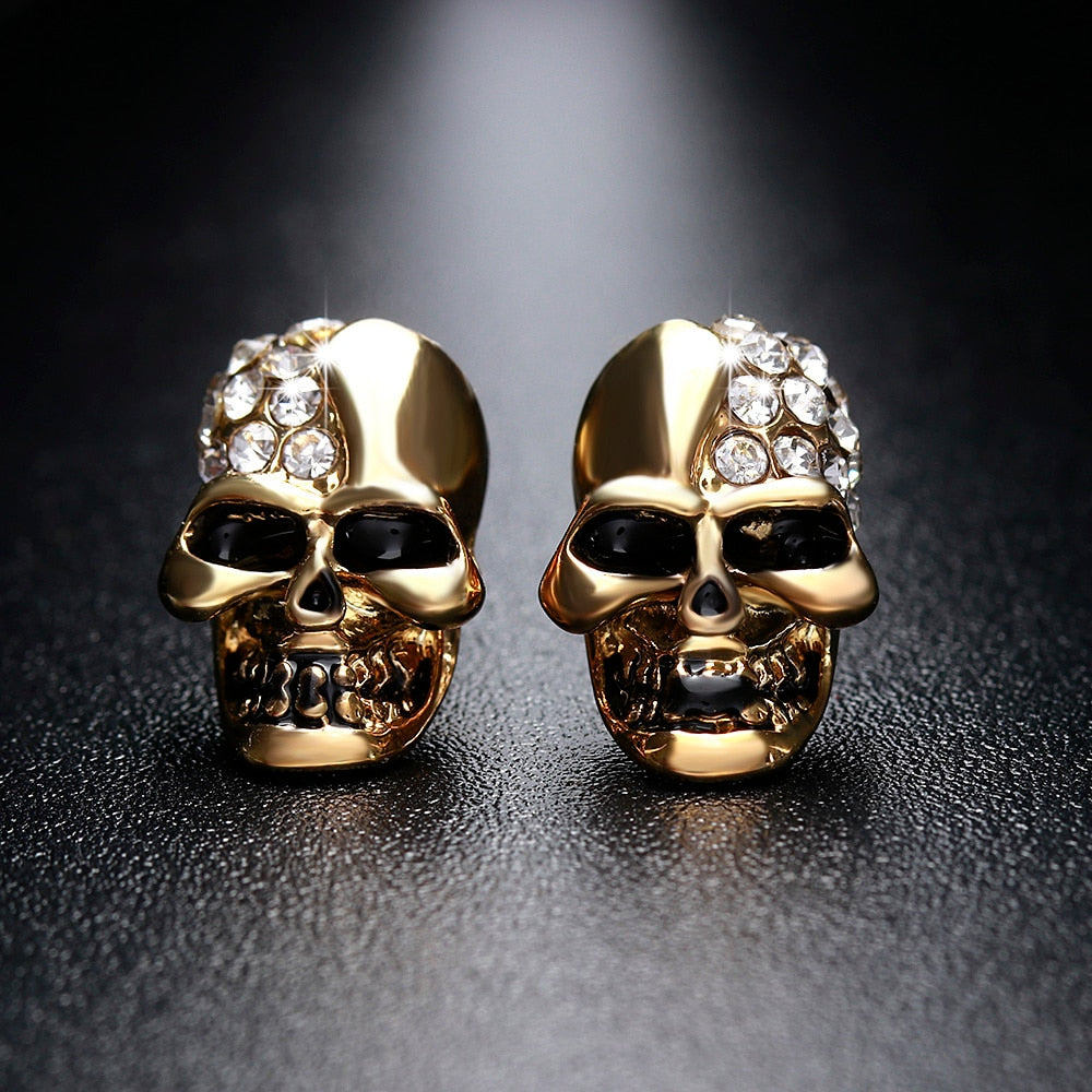 58df5586b 1Pair New Gothic Skull Head Stud Earrings For Women Skeleton Crystal  Rhinestones Ear Studs Party Punk