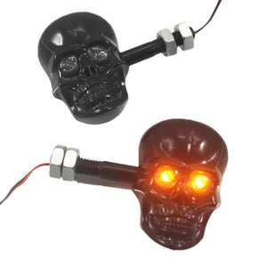 1Pair Personalized Motorcycle Accessories Refit Punk Skull Shape Turn Signal Lights Indicators for Motorbike
