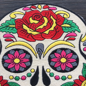 1Pcs Water Soluble Cool Skull Iron on Embroidery Applique Patches, Iron on Patches Applique for Clothes