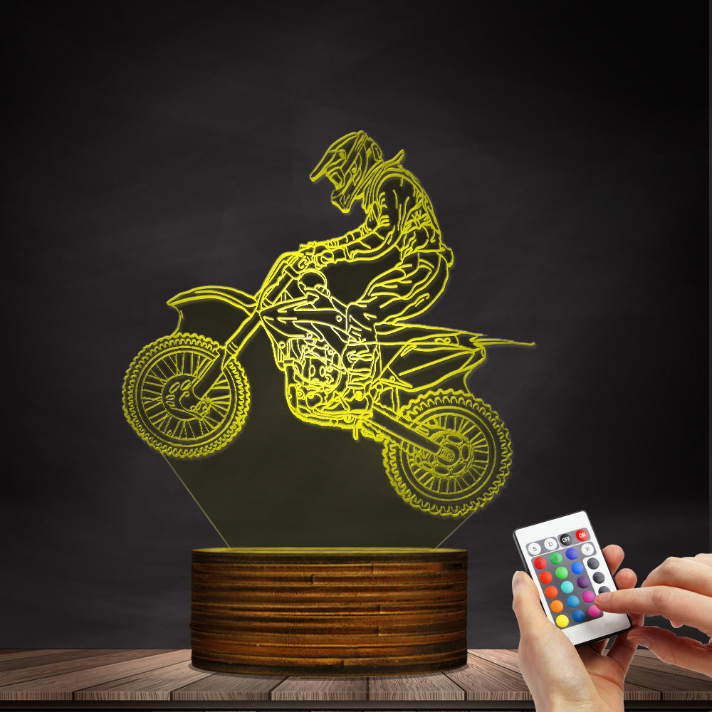1Piece Dirt Bike 3D Illuminated Display Desk Lamp Motorcross Bike Modern Night Lights Gift For Freestyle Motorcross Bikers