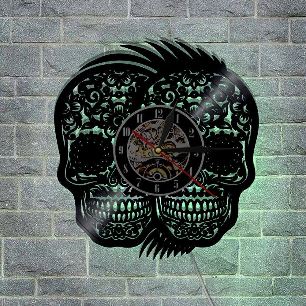 1Piece Handmade Art Hanging Timepiece Double Mexican Skulls Vinyl Wall Clock Halloween Party Creative Decor Gift