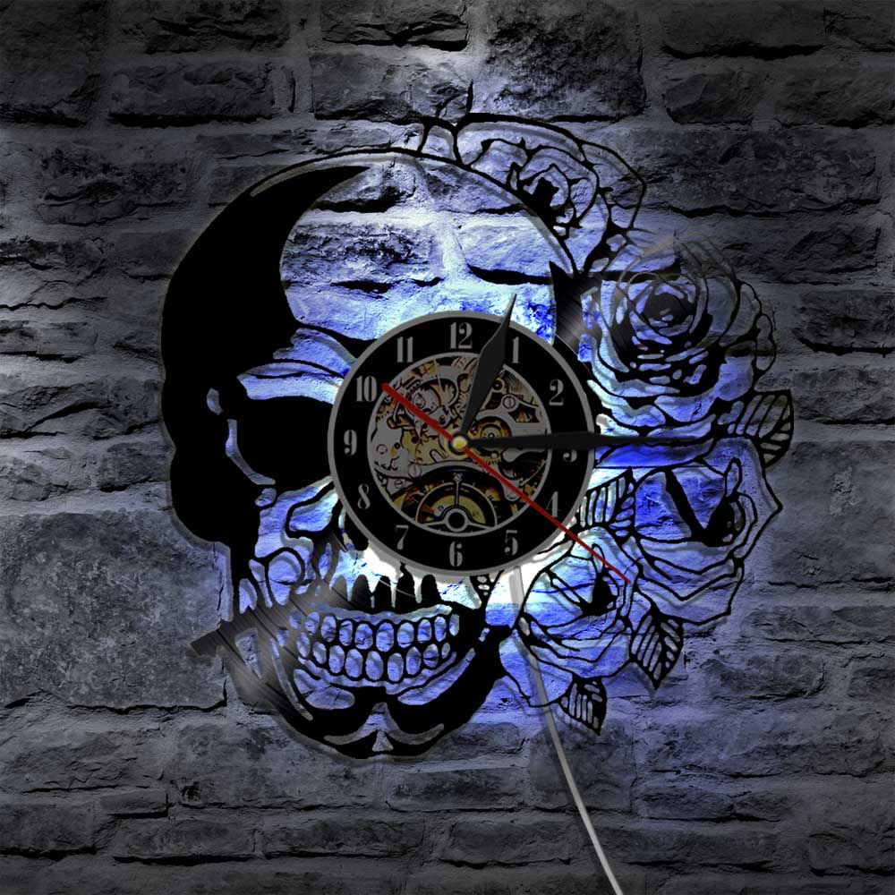 1Piece Hippie Skull With Rose Vinyl Record Wall Clock Modern Design Home Decor Wall Watch For Halloween Gift