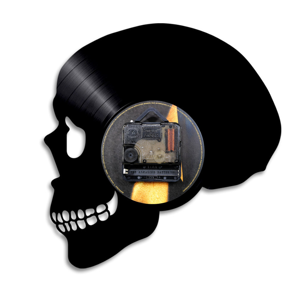 1Piece Skull Head Vinyl Record Wall Clock With Color Change Halloween Horror Skeleton Head Silhouette Wall Lamp Decorative Light
