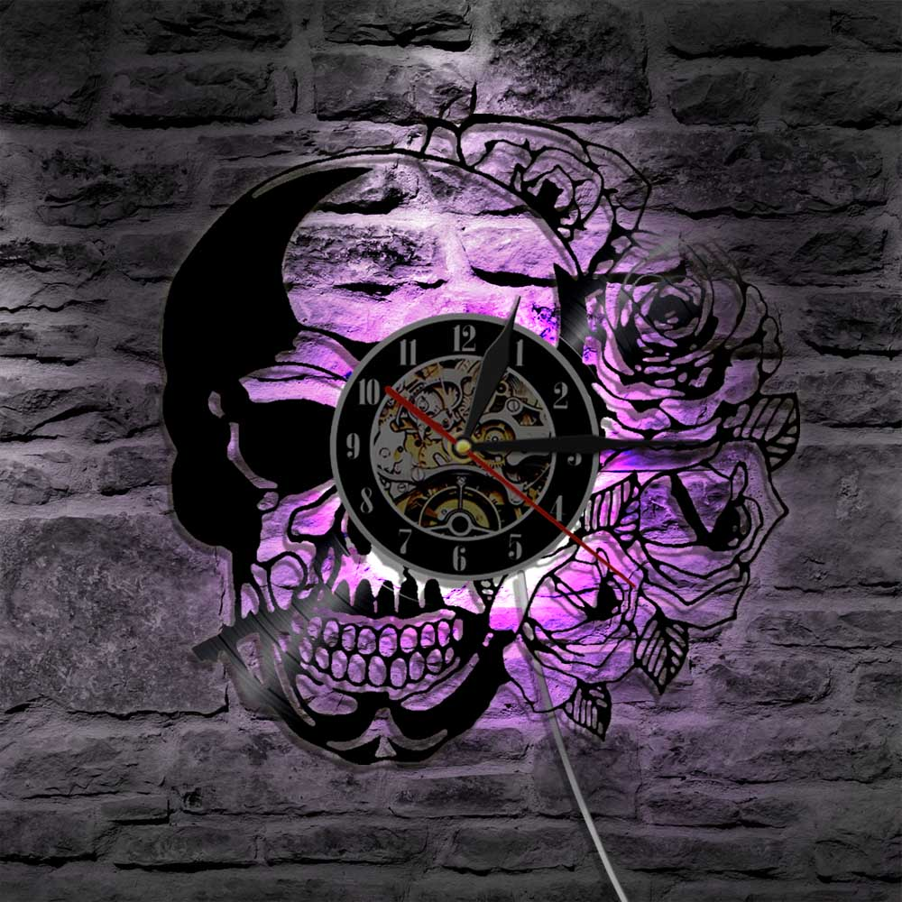 Skull With Rose Vintage Vinyl Record Wall Clock With LED