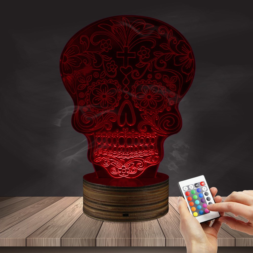 1Piece Sugar Skull 3D Light Horror The Day Of The Dead Illusion Projection 3D Lamp