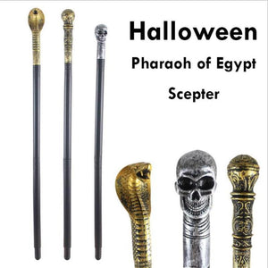 1Set Egyptian Pharaoh Scepter Halloween Cosplay Costume For Masquerade Party Props Snack Head Cane Skull Death Scepter S3