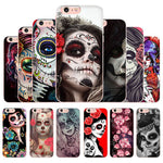 Funny Sugar Skull Girl Tattoo Transparent Shell Phone Case For iphone