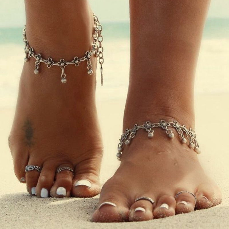 1pc Antique Silver Color Beach Anklets for Women 2017 Vintage Bohemian Flower Ankle Bracelet Cheville Foot Jewelry
