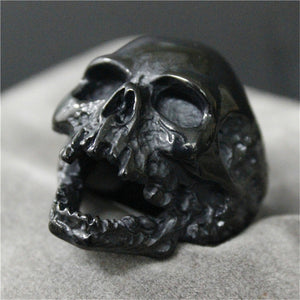 1pc Black Silver Huge Skull Ring 316L Stainless Steel Punk Style Newest Design Men Boys Skull Ring