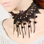 1pc Gothic Style Tattoo Tassel Lace Necklace Pendant Chain Crystal Choker Wedding Jewelry Necklace Women False Collar Statement
