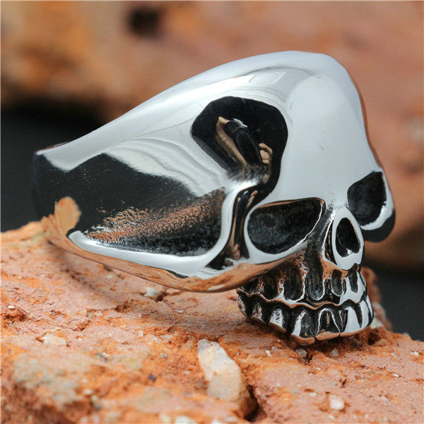 1pc Size 7 to 15 Polishing Skull 316L Stainless Steel Ghost Skull Ring