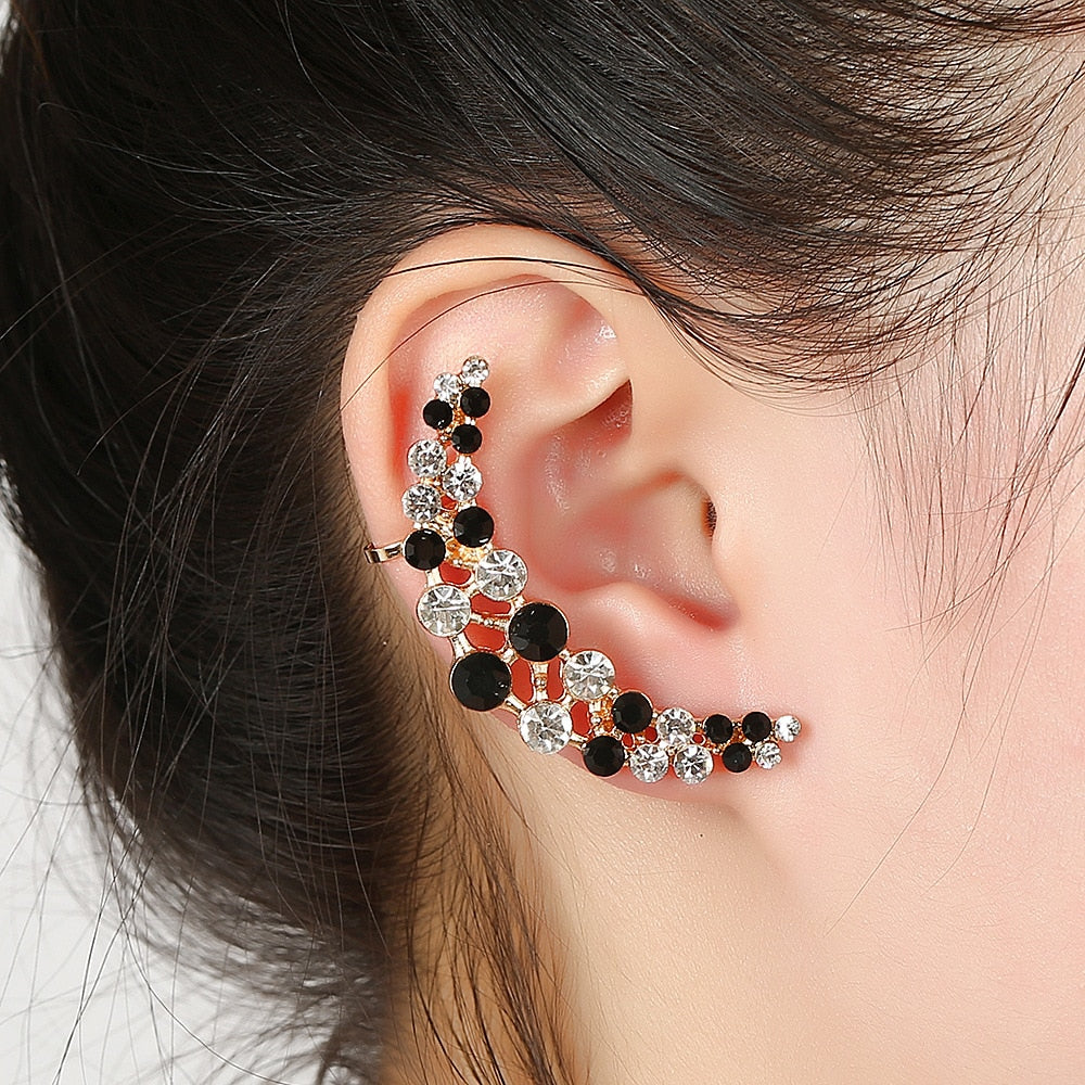 1pcs Right Left Ear Clip Fashion Rhinestone Hot Earcuff Jewelry Meniscus Silver Plated Clip On Earrings Ear Cuffs For Women