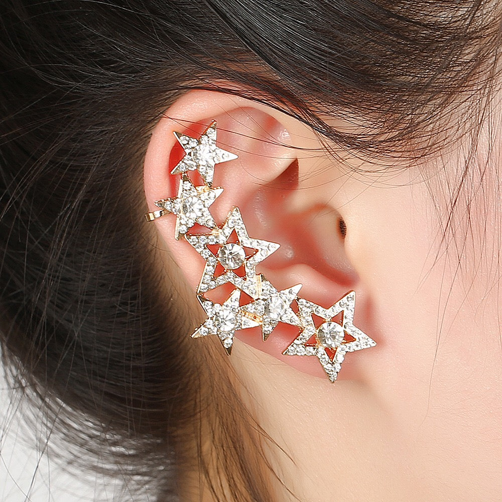 1pcs Right Left Ear Clip Fashion Star Earcuff Jewelry Gold tone Clip On Earrings Ear Cuffs For Women
