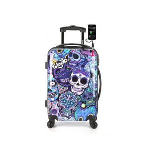20 inch Skull Luggage  Creative Trolley Case Caster Spring Wheel  boarding box Hard luggage with charging hole