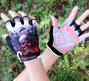Red White Man Women  Bike Bicycle 3D GEL Shockproof Cycling Half Finger