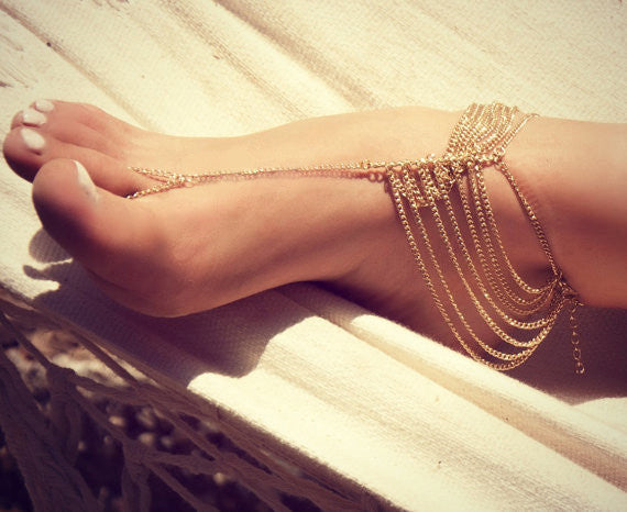 Hot sales*New Beach Fashion Multi Tassel Toe Bracelet Chain Link Foot Jewelry Anklet