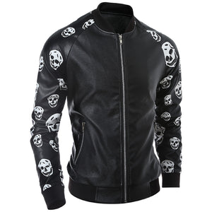 New Autumn Faux Leather Skull Jacket Men Jaqueta De Couro Masculina