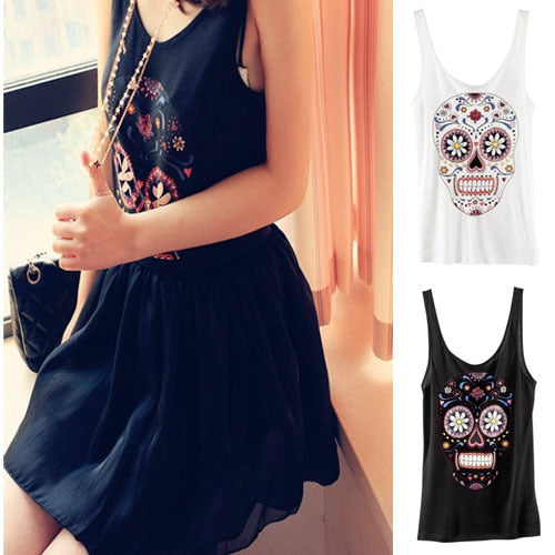 Flower Skull Head Sleeveless Shirt Vest