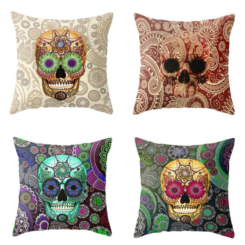 Paisley Skull Cushion Cover Bohemian Pillowcase Square Car Covers