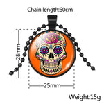 Classic Mexico Sugar Skull Pendants Necklace Vintage Jewelry Glass Cabochon Statement Necklace For Women Gift 1PC