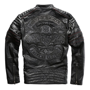 Men Black Skull Embroidery Leather Motorcycle Jacket  Real Thick Cowhide Slim Leather Coat