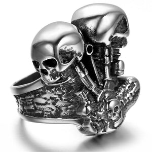 Motor Biker Engine Ring 316L Stainless Steel Mens Women Fashion Biker Double Skull Engine Biker Ring