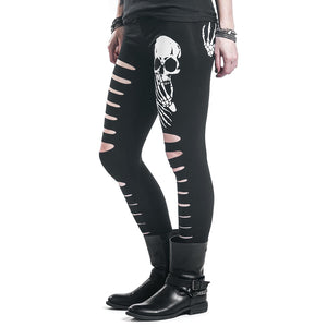 New Fashion Skull Printed Hollow Hole Women Leggings  Woman Pants high quality