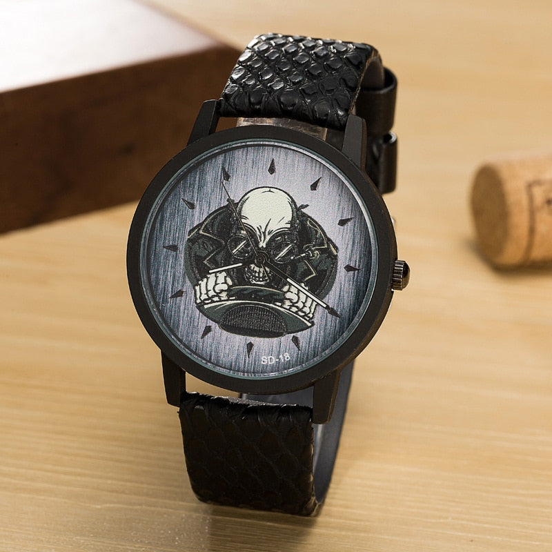 New Luxury Brand Skull Watch Men Quartz Leather Wrist Watches