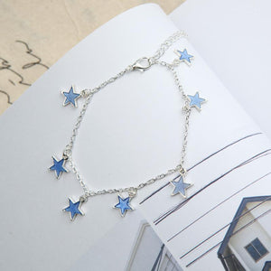 Luminous Ladies Beach Winds Blue Pentagon Star Tassel Anklet Silver Chain Anklets For Women Barefoot Sandals
