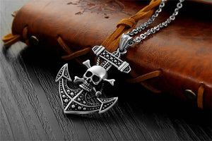 Retro punk men Anchor necklace fashion jewelry stainless steel skull cross pendants necklaces vintage male accessories gift