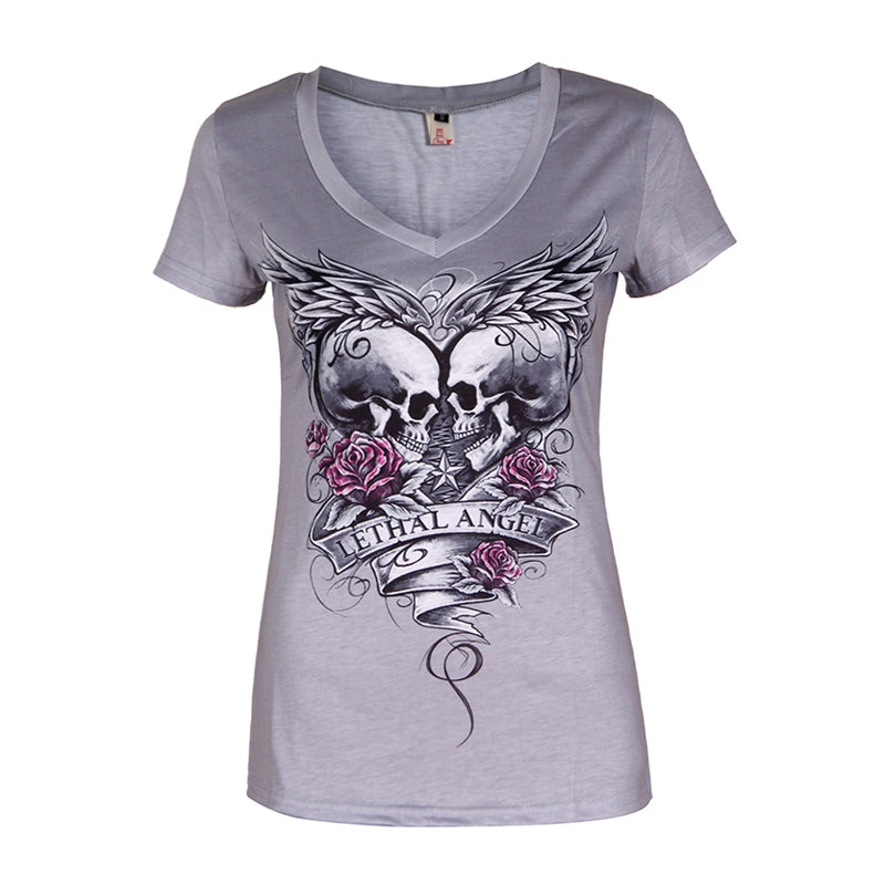 Tops Summer Women'S Fashion Short Sleeve V-Neck Punk Style Skull Print T-Shirt Tee Tops Plus Size S-5XL LJ8593Y