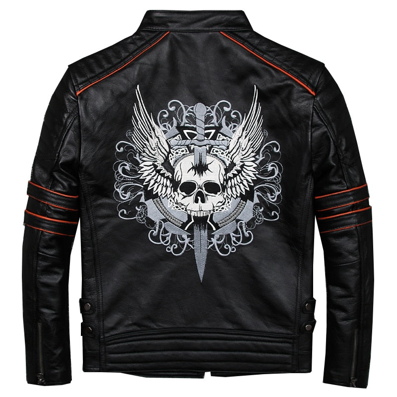 8680bc6ec19 Black Men Skull Embroidery Biker Leather Jacket Plus Size 3XL Genuine  Cowhide Short Motorcycle Leather Coat
