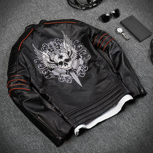 Black Men Skull Embroidery Biker Leather Jacket Plus Size
