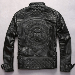 Black Men Skull Pattern Biker's Leather Jacket Plus Size 3XL Genuine Cowhide Slim Fit Motorcycle Leather Coat
