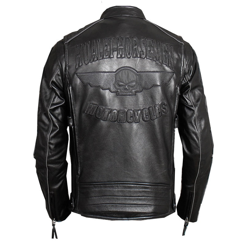 Black Men Slim Fit Biker's Leather Jacket Plus Size XXXL Genuine Thick Cowhide Short Skulls Motorcycle Coat