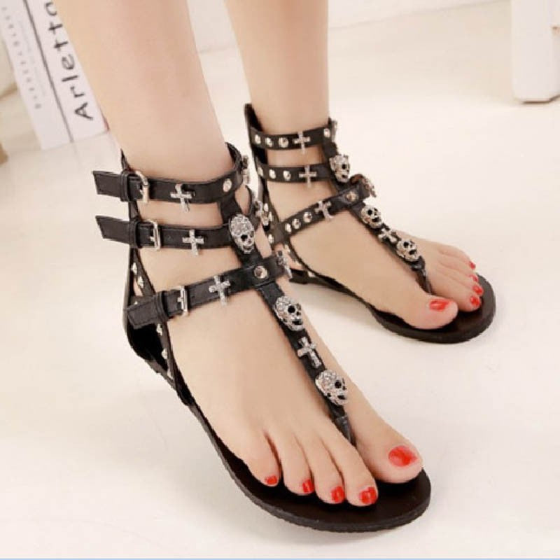 Cross Skull Flat Sandals Women Summer Shoes Roman Style Fashion Sandals Shoes Women Flat Sandals Slippers Flip Flops