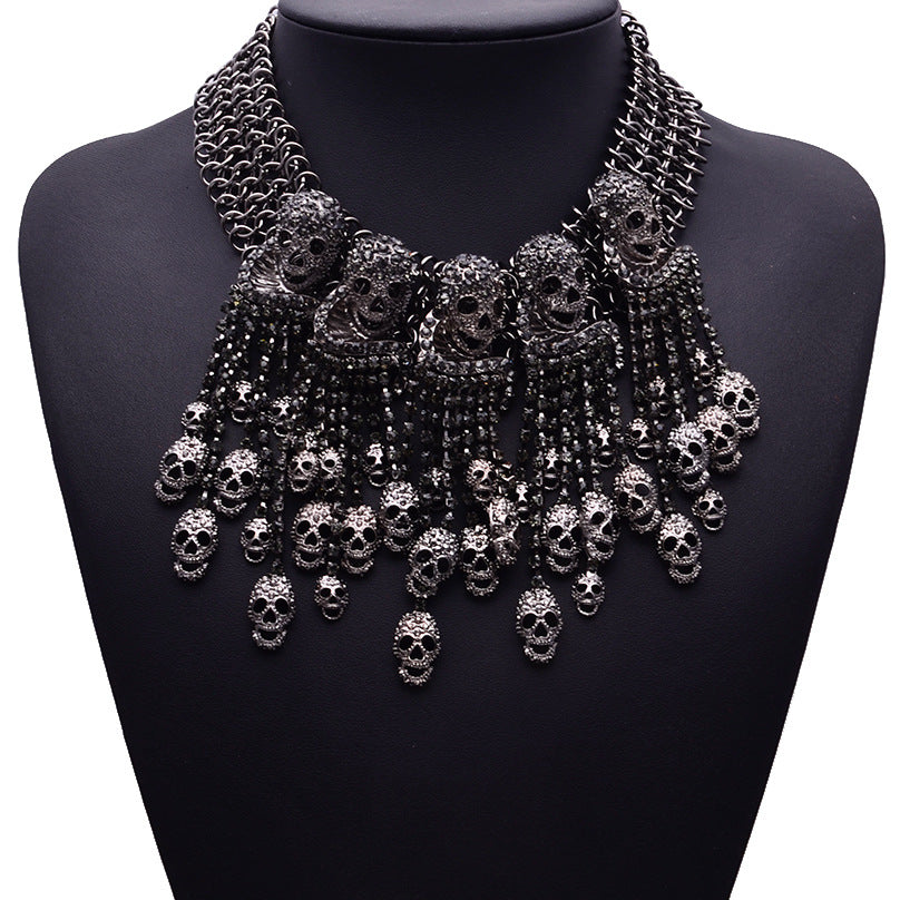 Exaggerated Necklace Skeleton Head Short Chain Female Retro Fashion